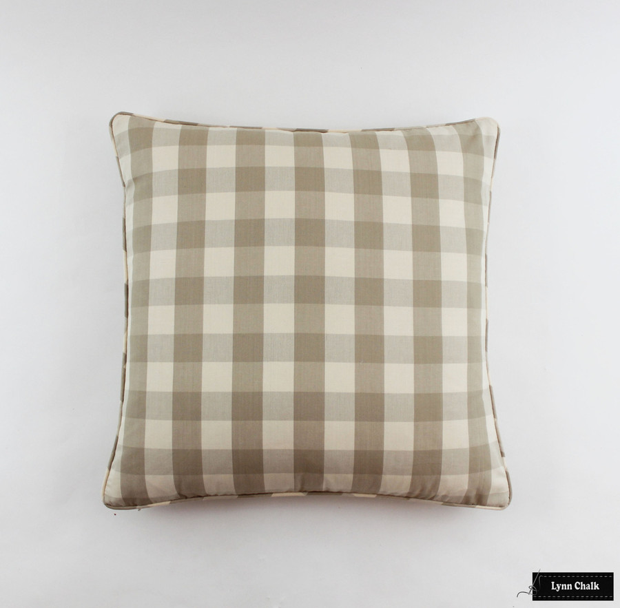 Pillow with self welting in Camden Check Beige (22 X 22)