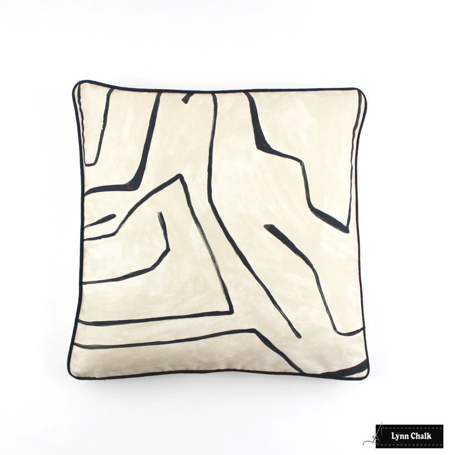 Custom Pillows in Graffito in Linen/Onyx with Black Welting (20 X 20)