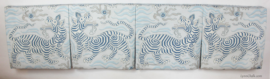 """Box Pleated Valance in Tibet Pale Blue.  Valance was 71"""".  Each Section was 17.75"""" Wide and 17"""" Long to feature one Tiger."""