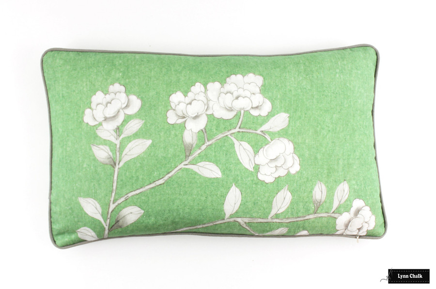 ON SALE Schumacher Mary McDonald Chinois Palais Pillow in Lettuce with Grey Welting (Both Sides-14 X 24) Only 1 Pillow Remaining at this Sale Price.