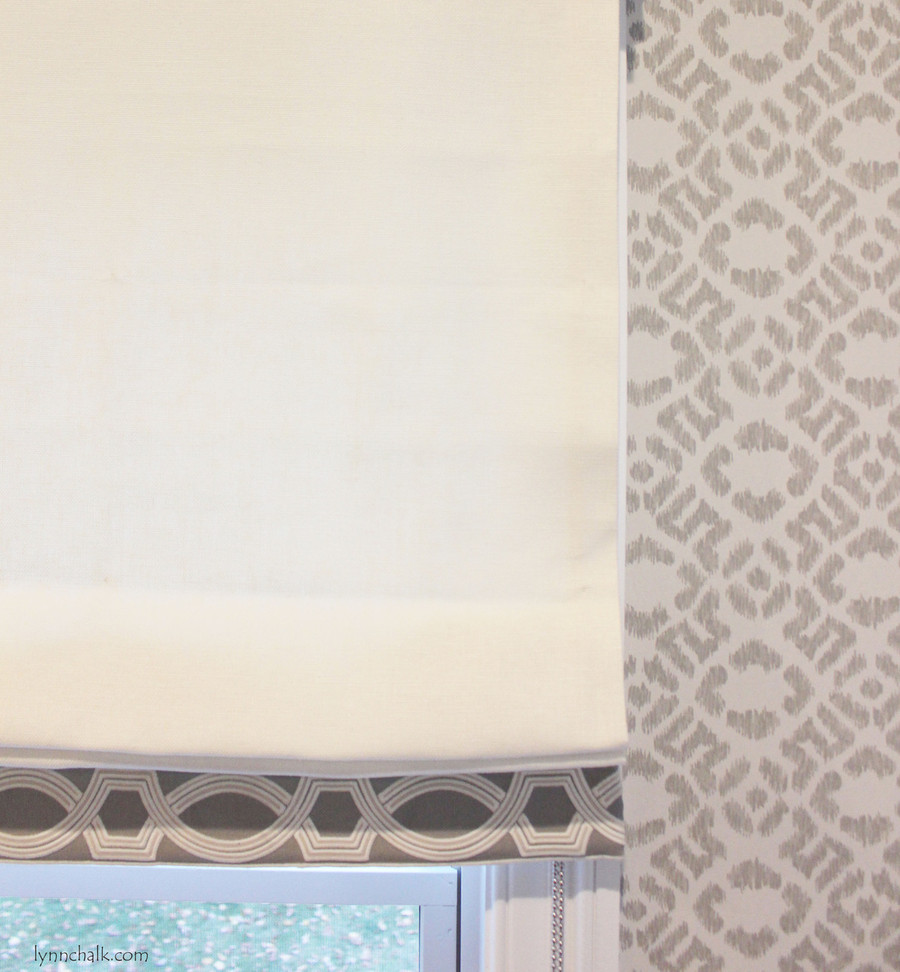 Roman Shade in Trend 01838T 07 with Samuel & Sons 977 56199 Trim.   Fabricut Wallpaper 50025W Diamante Grey 03.