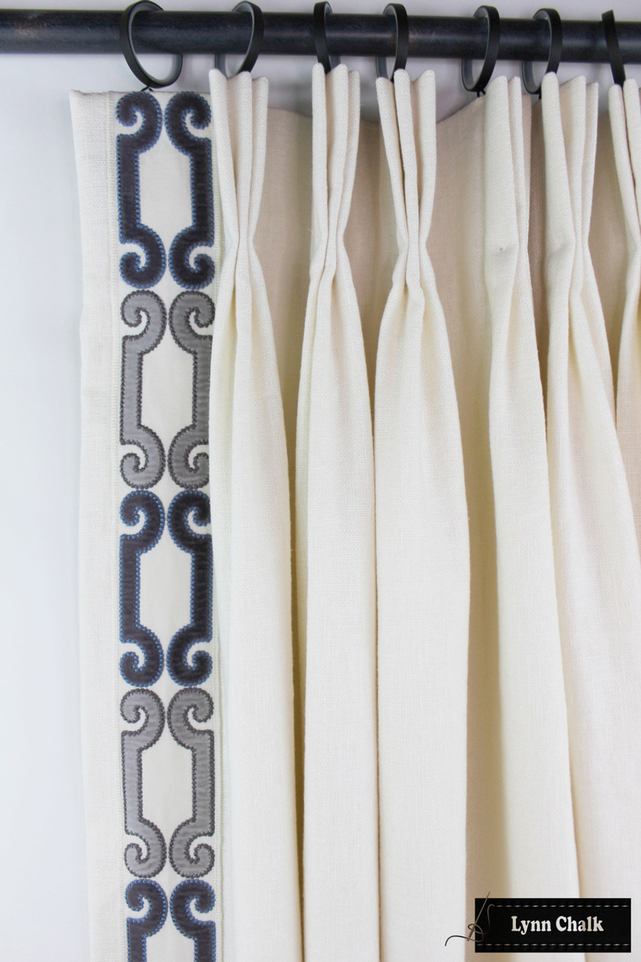 Trend 01838 Glacier Drapes with Zimmer Rohde Velvet Scroll Trim Navy ...