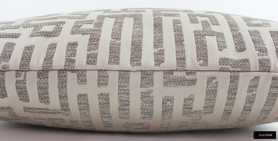 Knife Edge Pillow in Holly Hunt Written in Code Pale Silver 1129 01
