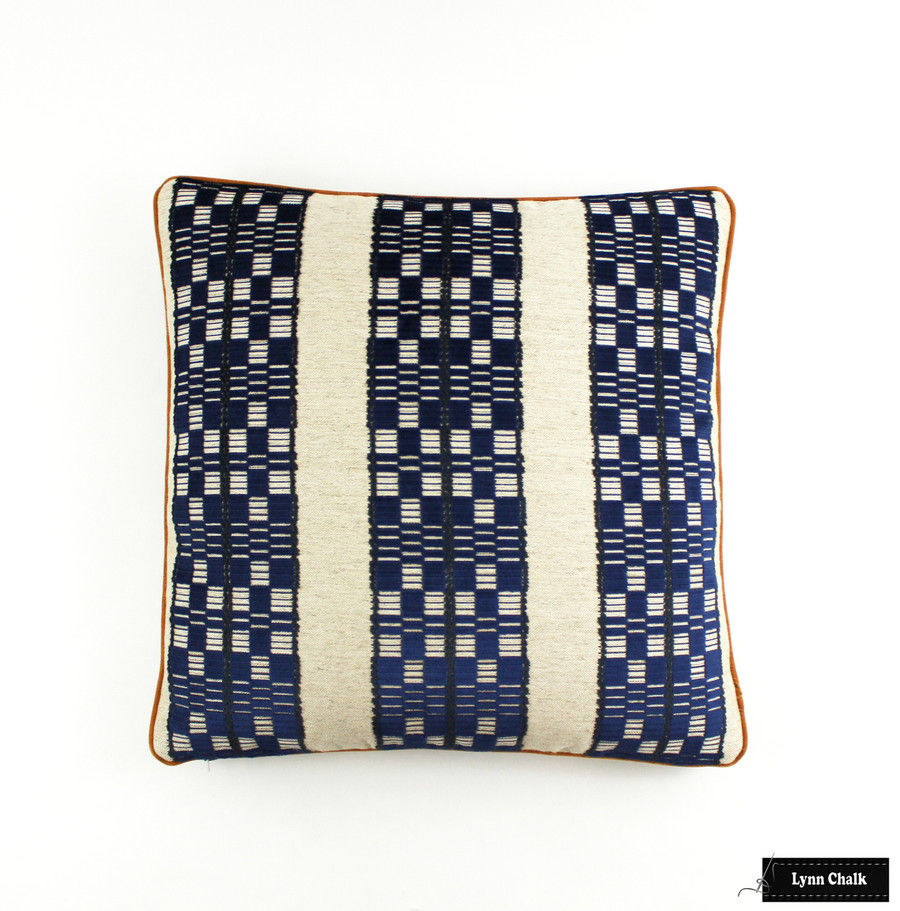 Designers Guild William Yeoward Septima FWY222 8 01 Pillows with Samuel & Sons Swiss Velvet Piping Copper (20 X 20)