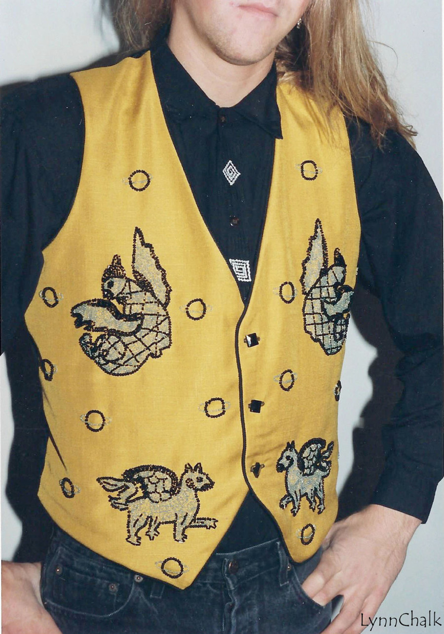 Gold Silk Hand Beaded Vest with Gargoyles and Black Glass Buttons