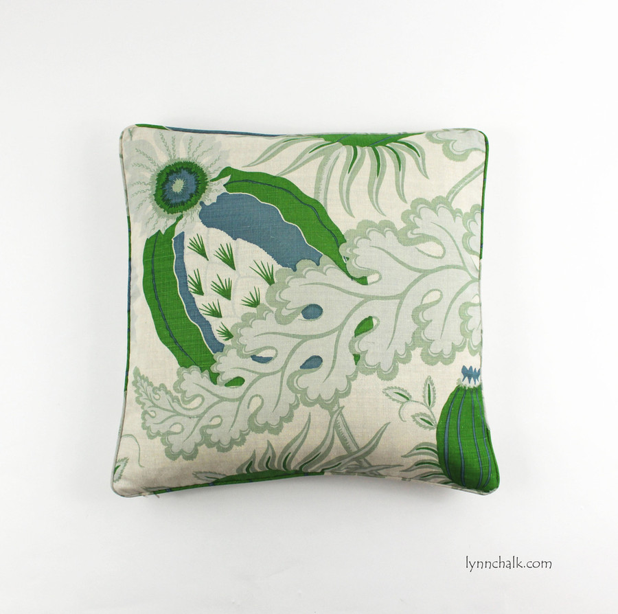 20 X 20 Pillows in Carnival Green with self welting