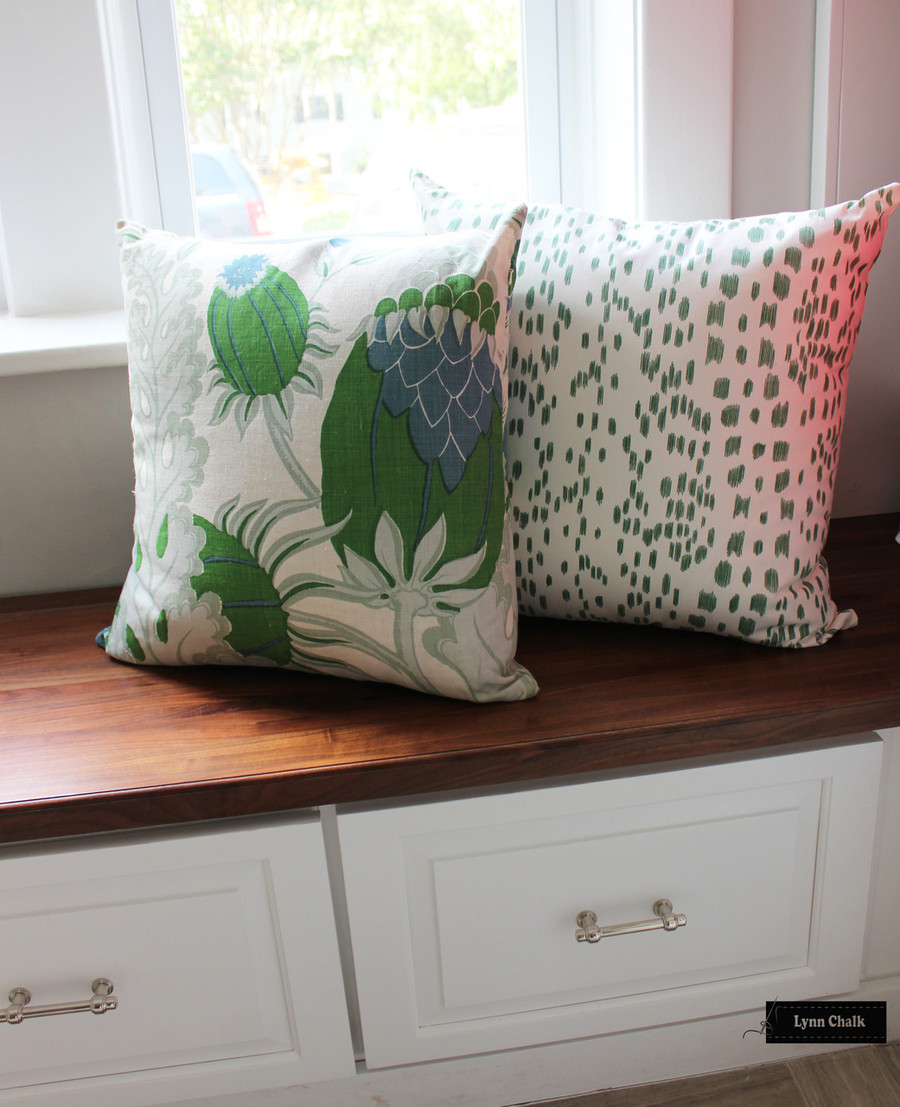 Christopher Farr Carnival Pillows with Brunschwig & Fils Les Touches in Green