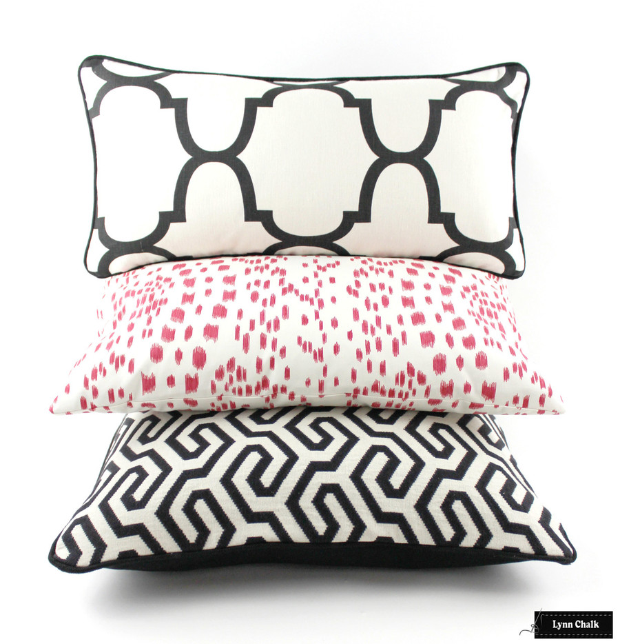 Schumacher Ming Fret Noir, Brunschwig & Fils Les Touches in Pink and Kravet Riad Black/White