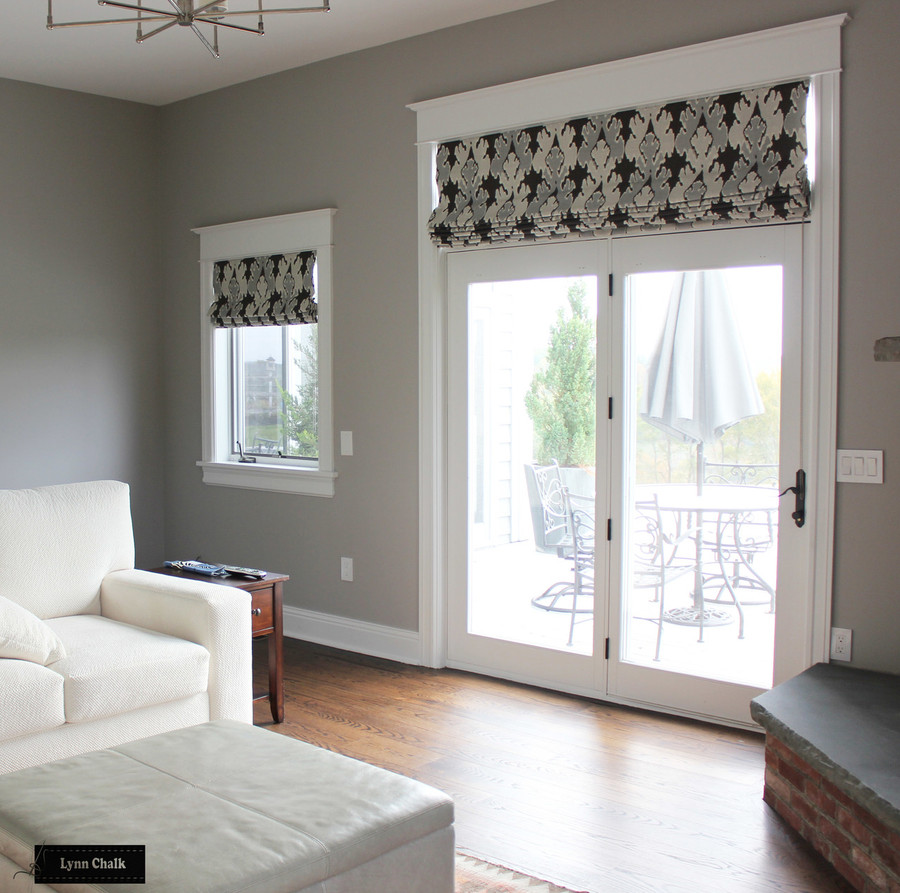 Kelly Wearstler Bengal Bazaar Custom Roman Shades in Living Room (shown in Graphite-comes in other colors)
