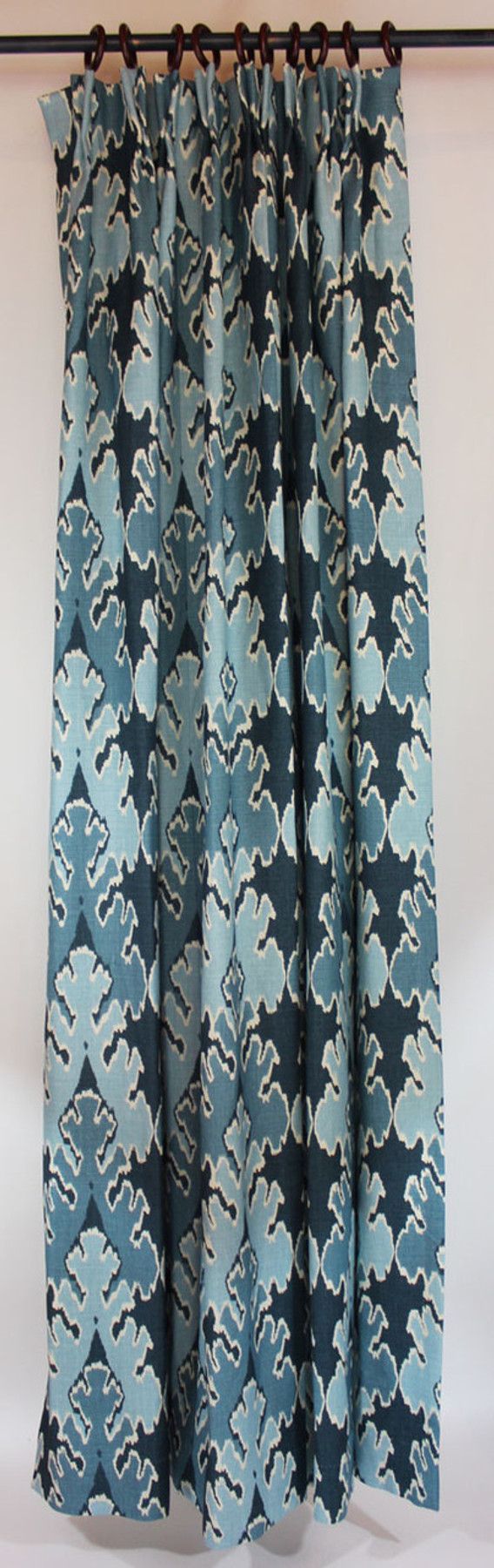 One pleated panel (1 1/2 Widths) in Kelly Wearstler Bengal Bazaar Teal