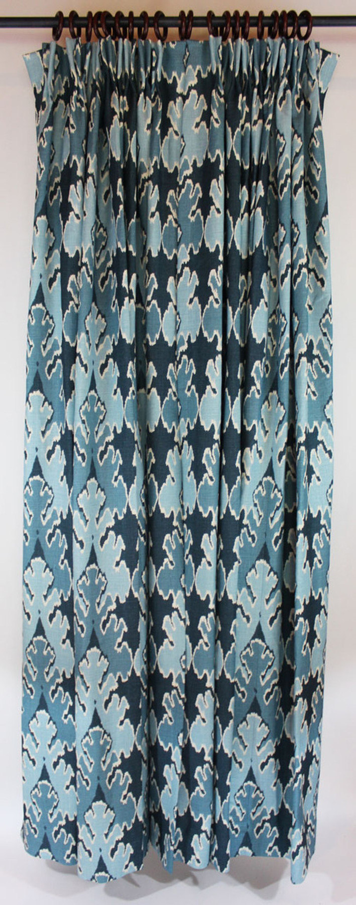 One pair of pleated drapes in Kelly Wearstler Bengal Bazaar Teal