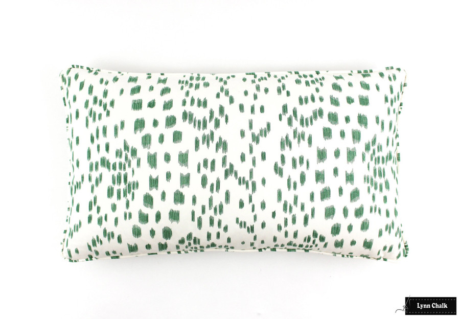 ON SALE Brunschwig & Fils/Lee Jofa Les Touches Green Pillows with Welting (Both Sides-14 X 24) Only 2 Pillows Remaining At This Sale Price
