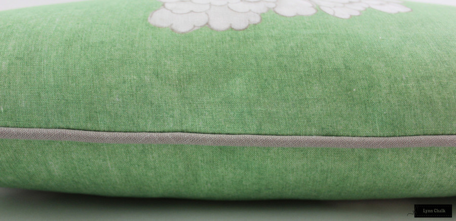 ON SALE Schumacher Mary McDonald Chinois Palais Pillow in Lettuce with Grey Welting (Both Sides-12 X 20) Only 2 Pillows Remaining at this Sale Price.