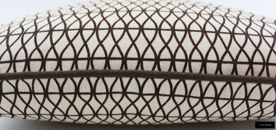 Larry Laslo Las Olas Terra (Brown) for Robert Allen Pillows 18 X 18 with Brown Welting