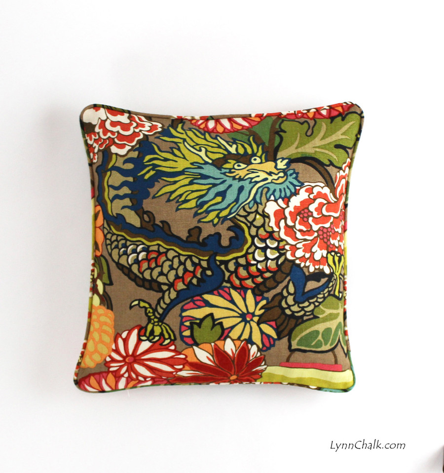 18 X 18 in Chiang Mai Dragon in Mocha Pillow with self welting