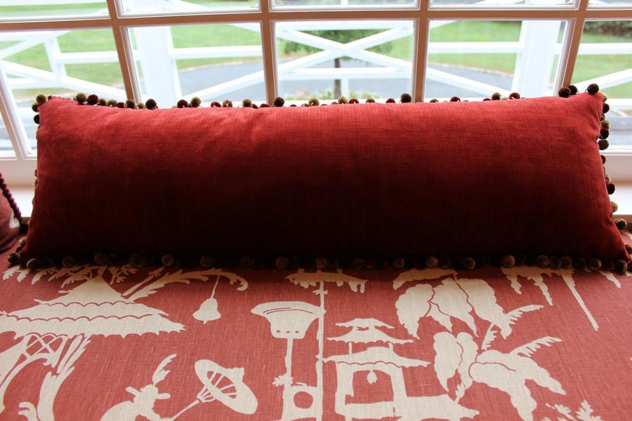 Pillow in Kravet Velvet 29429-24 with Kravet Tassel Trim TL10069-94