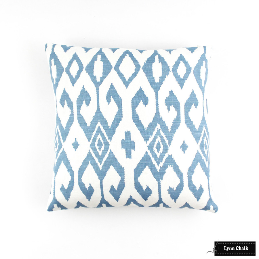 Quadrille Alan Campbell Aqua II French Blue on White Pillow (16 X 16)
