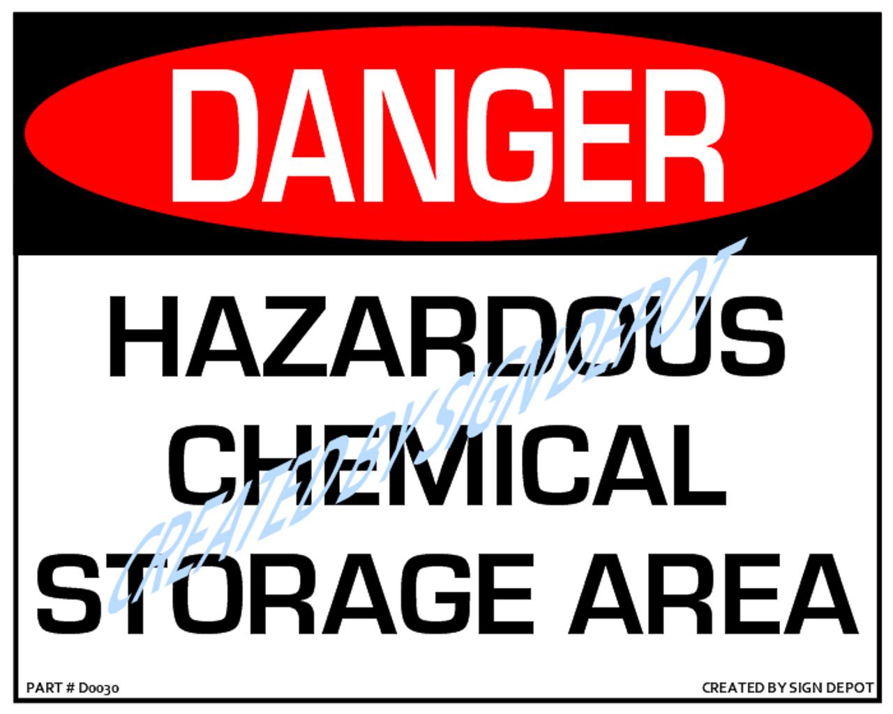 Danger Hazardous Chem Storage Sign Order Download Save Print