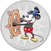 STEAMBOAT WILLIE - MICKEY MOUSE - 2017 1 oz Pure Silver Coin - Color