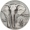 Elephant - Proof Tusks Antique Finish-HR Coin - 1 oz.silver 2016