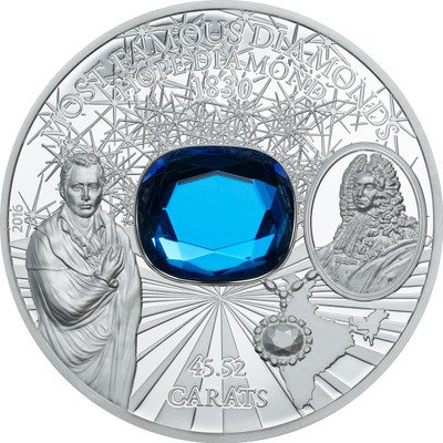 The Hope Diamond - HiRe  - 2 oz Silver Proof   Coin - $10 2016 Cook Islands