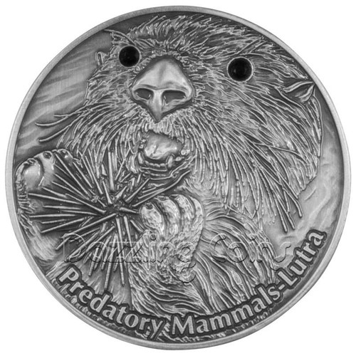 Fiji 2012 $10 Lutra Predatory Mammals AF 1oz Silver Coin