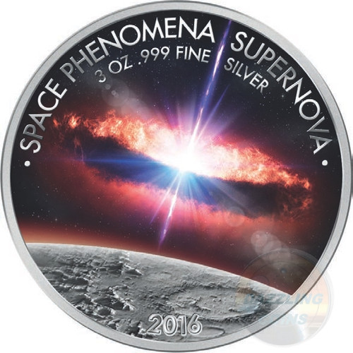 SPACE PHENOMENA SUPERNOVA - 2016 3 oz Silver Coin - Colored & Gold PL