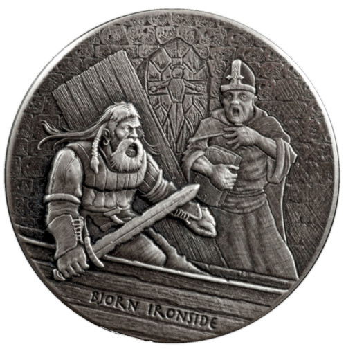 Viking Series -BJORN IRONSIDE - 2 oz Antique Silver Coin Niue 2016