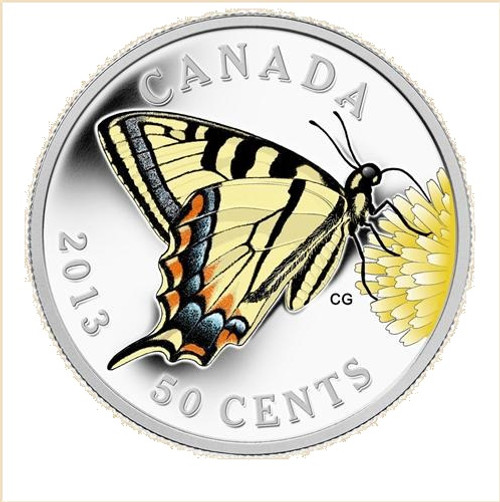 Silver Plated Coin-Canadian Tiger Swallowtail (2013) 50 Cent
