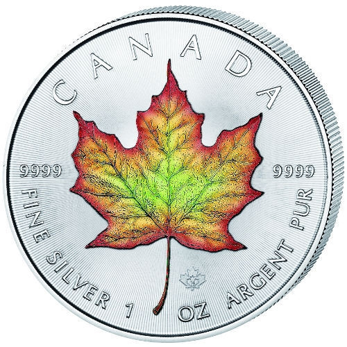 MAPLE LEAF COLOR -1 oz .9999 silver coin 2016 Canada