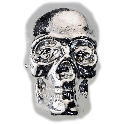 SKULL - HAND POURED - 1 oz Pure Silver 3D Bar - TCS