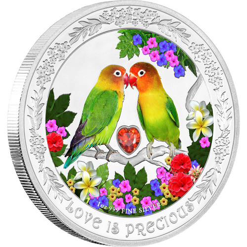 LOVEBIRDS Love is Precious  1 oz Pure Silver Coin 2017 Niue