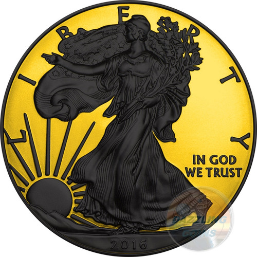 WALKING LIBERTY Gold Shadows 1 Oz Silver Coin 1$ US Mint 2016 rev