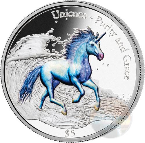 UNICORN Purity and Grace 3 Oz Silver Coin 5$ Fiji 2016