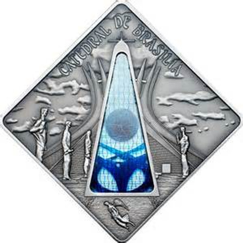 BRASILIA CATHEDRAL - Holy Windows Silver Coin 10$ Palau 2012