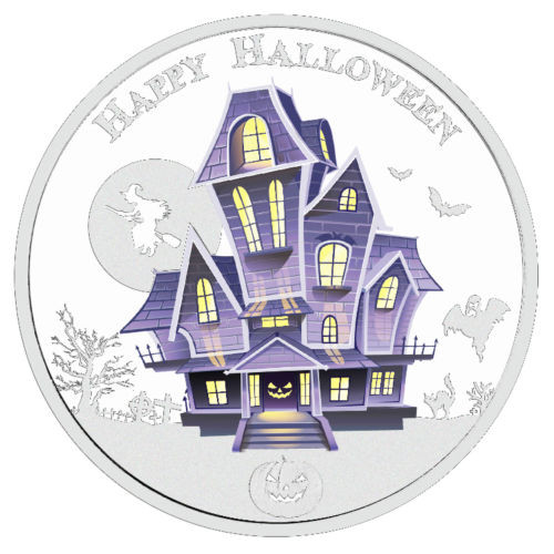 THE HAUNTED HOUSE - HALLOWEEN - GLOW IN THE DARK - 2016 1 oz Silver Coin