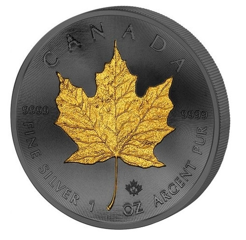 2016 Canada - Golden Enigma - Maple Leaf - Silver & Ruthenium & Gold Plated Coin