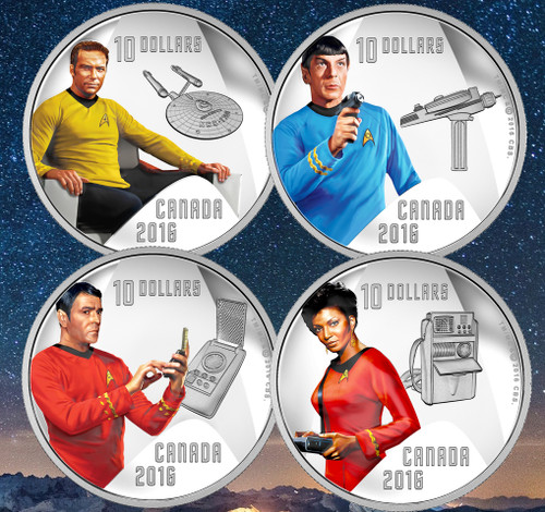 Star TrekTM Crew  Pure Silver Colored - 4 Coin Set