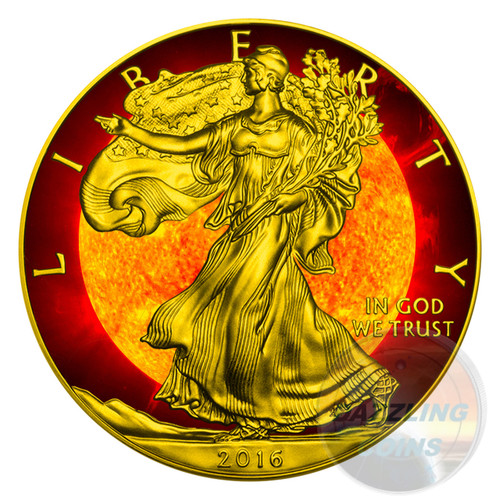 SOLAR FLARE LIBERTY 1 Oz Silver Eagle Coin 1$ USA 2016