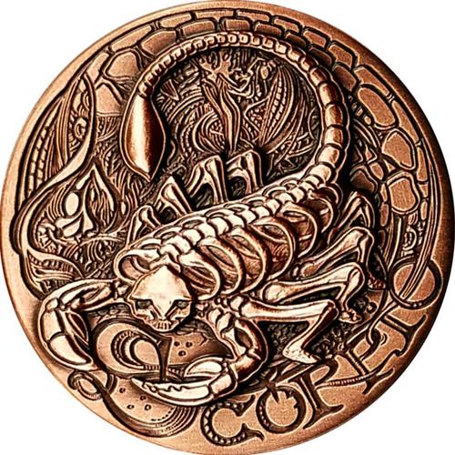 Zodiac SCORPIO   - MEMENTO MORI  Rimless High relief Antique Copper 1oz