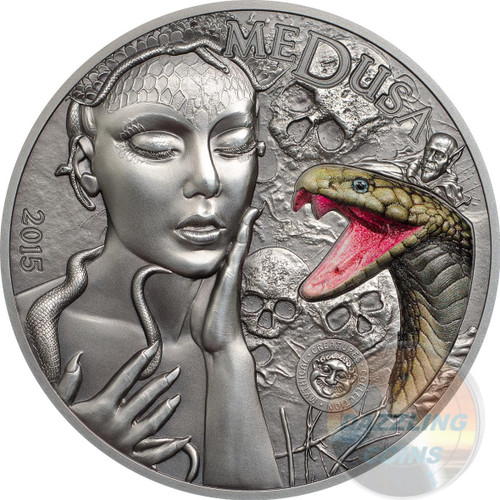 MEDUSA - MYTHICAL CREATURES - 2015 2 oz Silver Coin - Ultra HR Colored Snake Marble Inlay