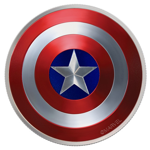 CAPTAIN AMERICA SHIELD - 75TH ANN.- 2016 2 oz Proof Silver Domed Coin - Fiji