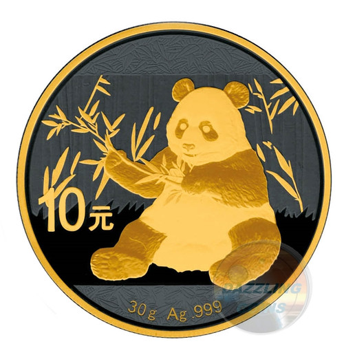 10 Y Panda Silver 24 K Gold Black Empire China 2017