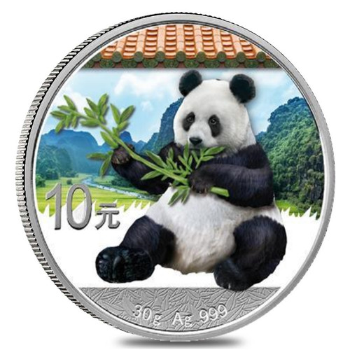 10 Y Panda Silver Color China 2017 side