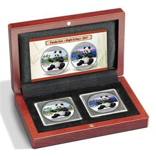 PANDA DAY & NIGHT COLOR - 2017 2x Silver Coin Set China 2017