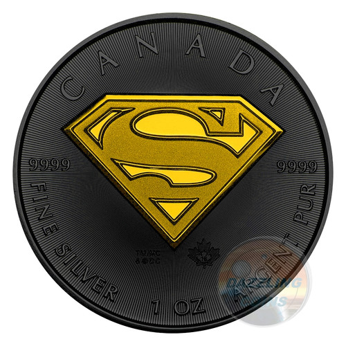 SUPERMAN Maple Shield 1 oz Silver Coin 5$ Canada 2016