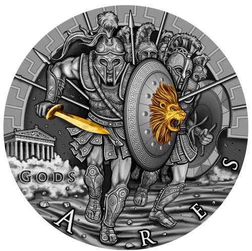 ARES God of War 2 oz Ultra High Relief Silver Coin Coin 2$ Niue 2017