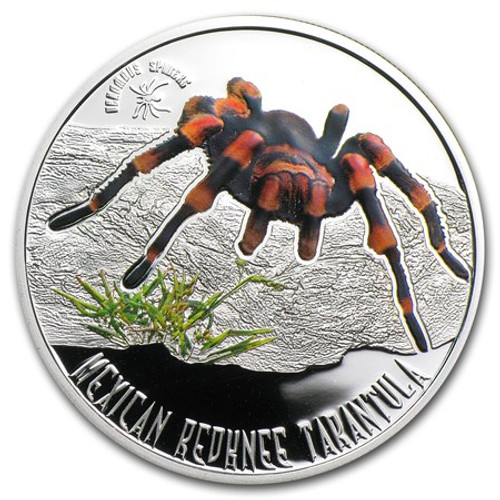 Mexican Redknee Tarantula ~ Venomous Spiders - 5$ Cook Island Silver Coin 2011 r
