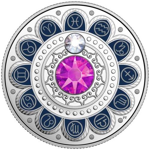 PISCES Zodiac $3 Silver Proof two Swarovski Crystals 2017 Canada r