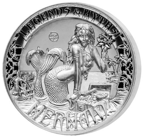 MERMAID Legends & Myths 2 Oz Silver Coin 5$ Solomon Islands 2016